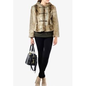 Juicy Couture Tan Faux Fur Jacket with Hood Size M